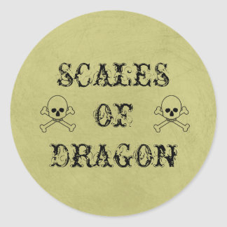 Scales Of Dragon Vintage Halloween Potion Labels Round Sticker