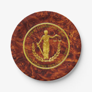 Scales of Justice Burl Pattern Paper Plate