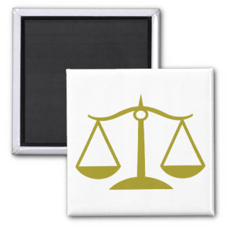 Scales of Justice - Gold Square Magnet