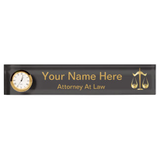 Scales of Justice | Law | Black, Gold Nameplate