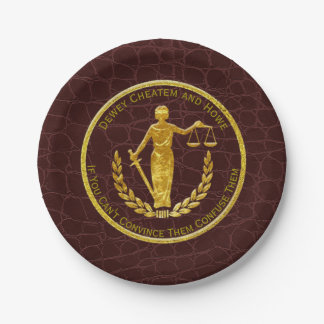 Scales of Justice Leather Pattern Paper Plate