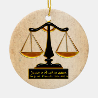 Scales of Justice on Parchment (Personalized) Christmas Ornament