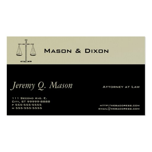 Scales of Justice Pack Of Standard Business Cards