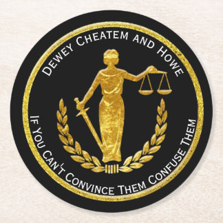 Scales of Justice Personalize Round Paper Coaster