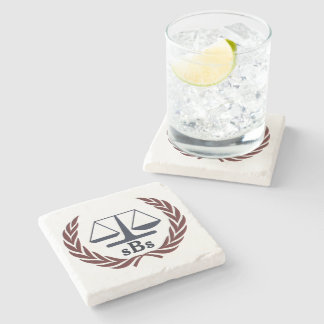 Scales of Justice Personalized Lawyer Gifts Stone Coaster