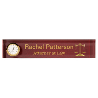 Scales of Justice | Rustic Red Leather - Lawyer Nameplate