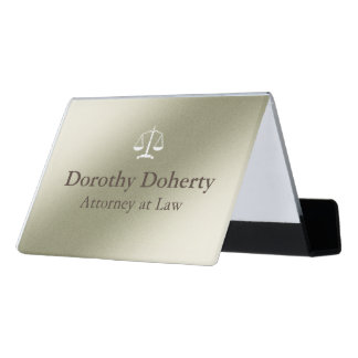 Scales of Justice Silver Gray Tone Background Desk Business Card Holder