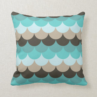 Scallop Blue/Brown Throw Pillow