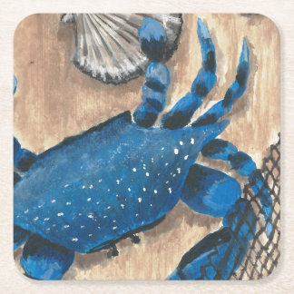 Scallop, Crab and Net Square Paper Coaster