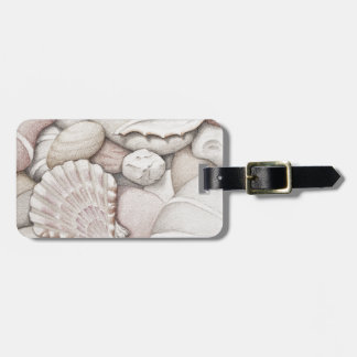 Scallop Sea Shells and Pebbles in Coloured Pencil Luggage Tag