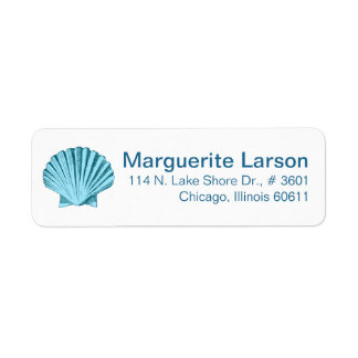 Scallop Seashell Beach | mint blue Return Address Label