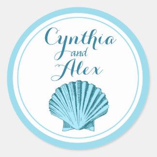 Scallop Seashell Beach Wedding   mint blue Classic Round Sticker