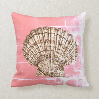Scallop Seashell on Deep Pink Cushion