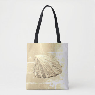 Scallop Seashell on Sand Tote Bag