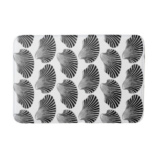 Scallop Shell Block Print, Black and White Bath Mat