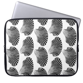 Scallop Shell Block Print, Black and White Laptop Sleeve