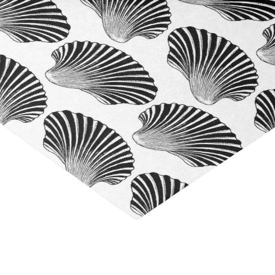 Scallop Shell Block Print, Black and White Tissue Paper