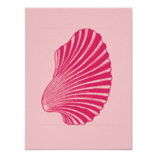 Scallop Shell Block Print, Fuchsia and Pale Pink Poster