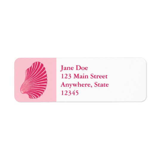 Scallop Shell Block Print, Fuchsia and Pale Pink Return Address Label
