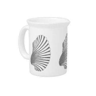 Scallop Shell Block Print, Gray / Grey and White Pitcher