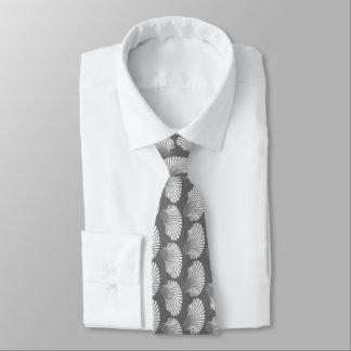 Scallop Shell Block Print, Gray / Grey and White Tie