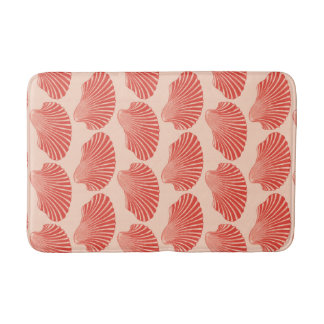 Scallop Shell Block Print, Light Coral Orange Bath Mat