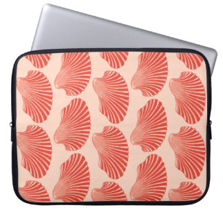 Scallop Shell Block Print, Light Coral Orange Laptop Sleeve