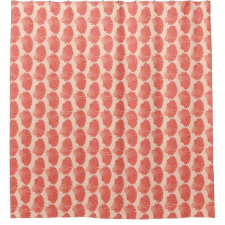 Scallop Shell Block Print, Light Coral Orange Shower Curtain