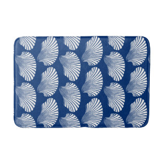 Scallop Shell Block Print, Navy Blue and White Bath Mat