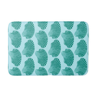 Scallop Shell Block Print, Turquoise and Aqua Bath Mat