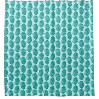 Scallop Shell Block Print, Turquoise and Aqua Shower Curtain