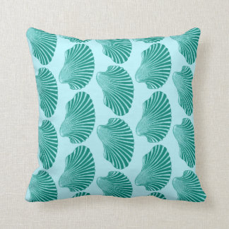 Scallop Shell Block Print, Turquoise and Aqua Throw Pillow