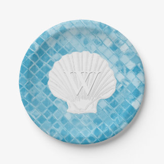 Scallop Shell Monogram Blue Sea Glass Paper Plate