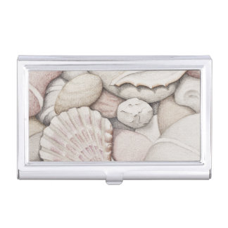 Scallop Shell & Pebbles Business Card Holder