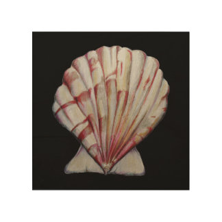 scallop shell print on wood wood canvases