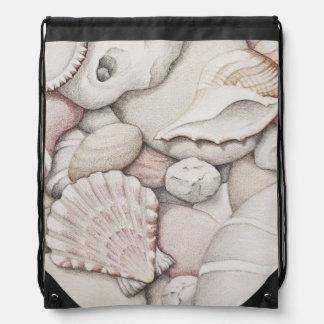 Scallop Shells & Pebbles in Pencil Drawstring Bag