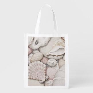 Scallop Shells & Pebbles in Pencil Reusable Bag