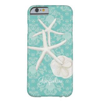 Scallop Starfish Damask Seashell Beach Pattern Barely There iPhone 6 Case