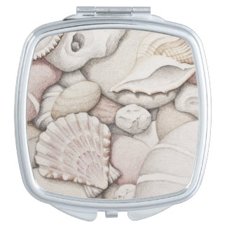 Scallop & Tibia Shells & Pebbles in Colour Pencil Mirror For Makeup