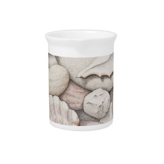 Scallop & Tibia Shells & Pebbles in Colour Pencil Pitcher