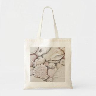 Scallop & Tibia Shells & Pebbles in Colour Pencil Tote Bag