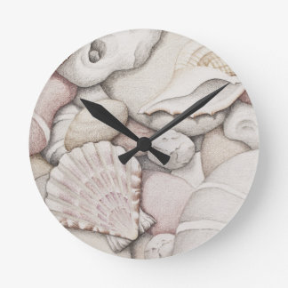 Scallop & Tibia Shells & Pebbles in Pencil Clock
