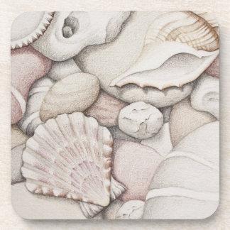 Scallop & Tibia Shells & Pebbles Plastic Coasters