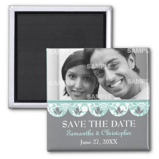 Scalloped Aqua Damask Save The Date Magnet