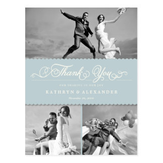 Scalloped Band And Script Photo Wedding Thank You Postcard