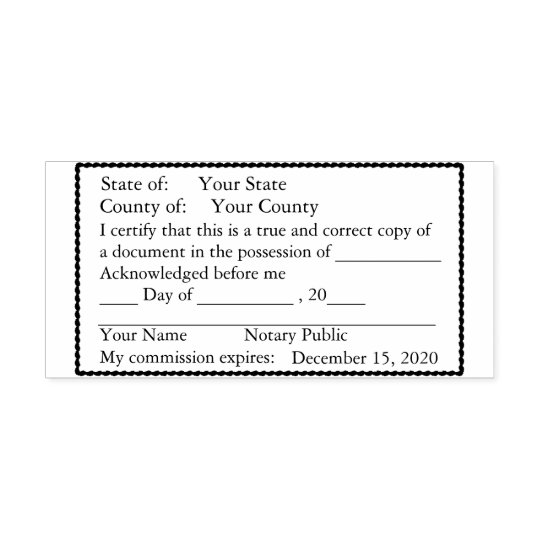 Scalloped Bordered Notary Public Copy Stamp