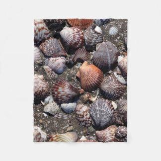 Scalloped Colorful Seashells On A Black Sand Fleece Blanket
