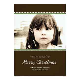 Scalloped Frame Holiday Photo Cards - Green - 13 Cm X 18 Cm Invitation Card