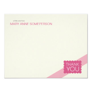 Scalloped Hot Pink | Flat Thank You Note Cards 11 Cm X 14 Cm Invitation Card