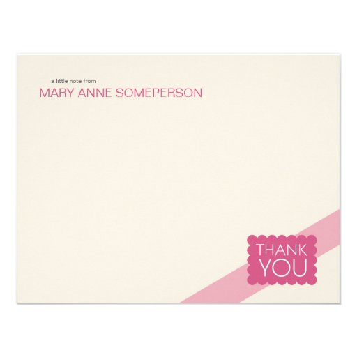 Scalloped Hot Pink | Flat Thank You Note Cards Invite